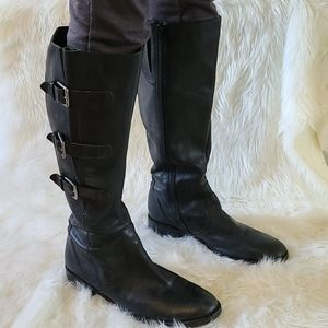 Ecco black leather riding boots.